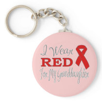 I Wear Red For My Granddaughter (Red Ribbon) Keychain