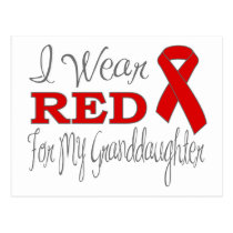 I Wear Red For My Granddaughter (Red Ribbon) Postcard