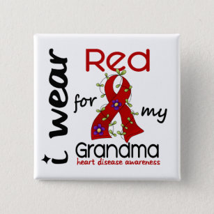 088242e2 I Wear Red For My Grandma 43 Heart Disease Button