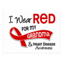 I Wear Red For My Grandma Heart Disease Postcard