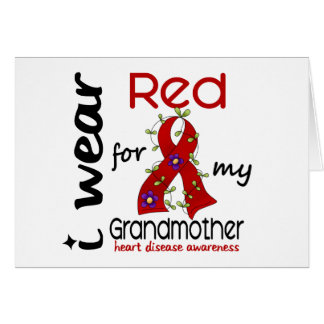 I Wear Red For My Grandmother 43 Heart Disease Greeting Card
