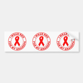 I Wear Red For My Grandpa Bumper Sticker
