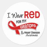I Wear Red For My Grandpa Heart Disease Classic Round Sticker
