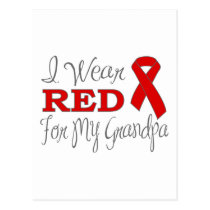 I Wear Red For My Grandpa (Red Ribbon) Postcard