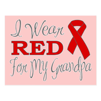 I Wear Red For My Grandpa (Red Ribbon) Post Cards