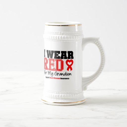 I Wear Red For My Grandson 18 Oz Beer Stein