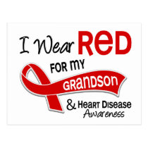 I Wear Red For My Grandson Heart Disease Postcard