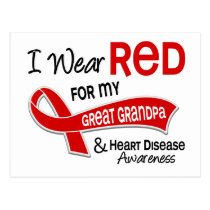 I Wear Red For My Great Grandpa Heart Disease Postcard