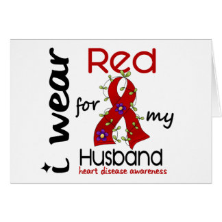 I Wear Red For My Husband 43 Heart Disease Greeting Card