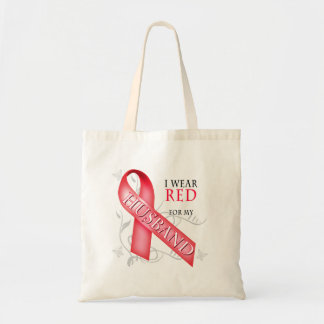 I Wear Red for my Husband Canvas Bags