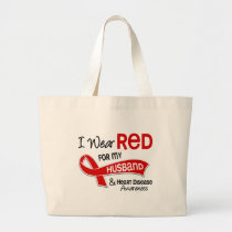 I Wear Red For My Husband Heart Disease Large Tote Bag