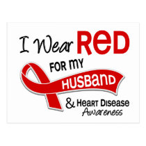 I Wear Red For My Husband Heart Disease Postcard
