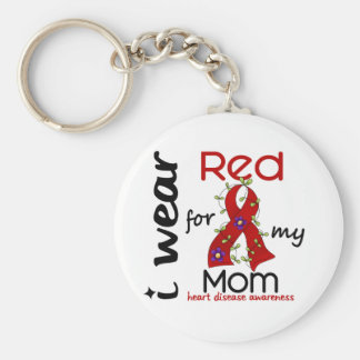 I Wear Red For My Mom 43 Heart Disease Basic Round Button Keychain