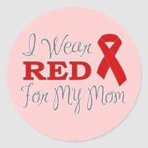I Wear Red For My Mom (Red Ribbon) Classic Round Sticker