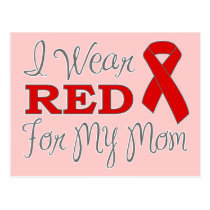 I Wear Red For My Mom (Red Ribbon) Postcard