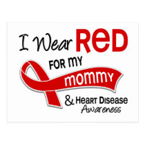 I Wear Red For My Mommy Heart Disease Postcard