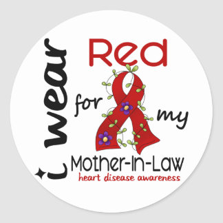 I Wear Red For My Mother-In-Law 43 Heart Disease Classic Round Sticker