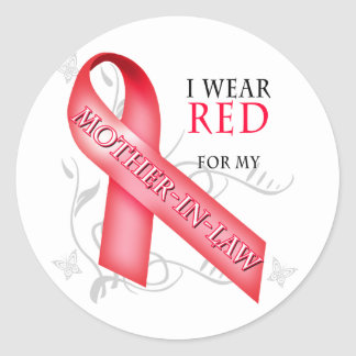 I Wear Red for my Mother-In-Law Classic Round Sticker