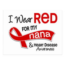 I Wear Red For My Nana Heart Disease Postcard