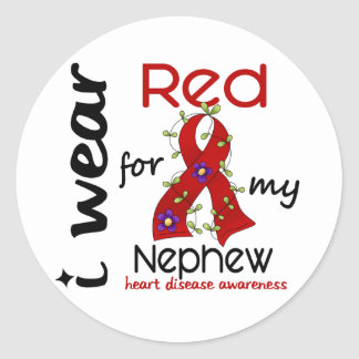 I Wear Red For My Nephew 43 Heart Disease Classic Round Sticker