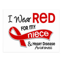 I Wear Red For My Niece Heart Disease Postcard