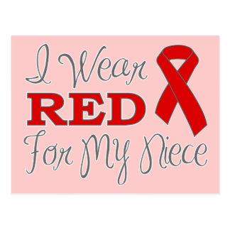 I Wear Red For My Niece (Red Ribbon) Postcard