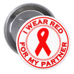 I Wear Red For My Partner Pinback Button