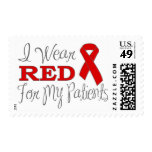 I Wear Red For My Patients (Red Ribbon) Stamp