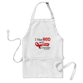 I Wear Red For My Sister Heart Disease Adult Apron