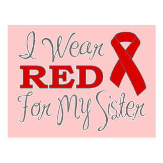 I Wear Red For My Sister (Red Ribbon) Postcard