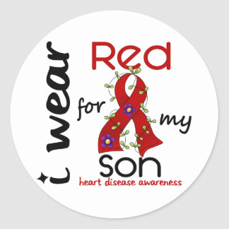 I Wear Red For My Son 43 Heart Disease Classic Round Sticker