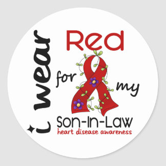 I Wear Red For My Son-In-Law 43 Heart Disease Classic Round Sticker