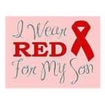 I Wear Red For My Son (Red Ribbon) Post Card