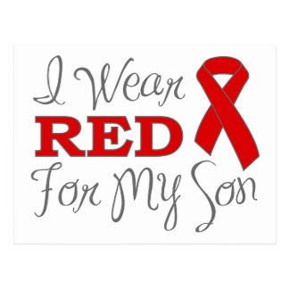 I Wear Red For My Son (Red Ribbon) Postcard