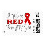 I Wear Red For My Son (Red Ribbon) Stamps