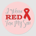 I Wear Red For My Son (Red Ribbon) Stickers