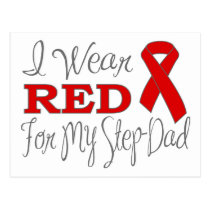 I Wear Red For My Step-Dad (Red Ribbon) Postcard