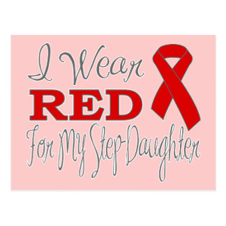 I Wear Red For My Step-Daughter (Red Ribbon) Postcard