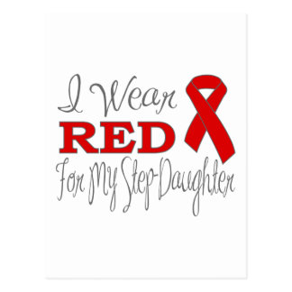 I Wear Red For My Step-Daughter (Red Ribbon) Post Cards