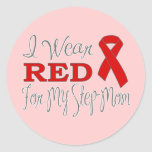I Wear Red For My Step-Mom (Red Ribbon) Round Stickers