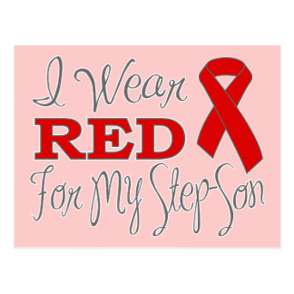 I Wear Red For My Step-Son (Red Ribbon) Post Cards