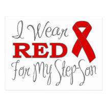 I Wear Red For My Step-Son (Red Ribbon) Postcard