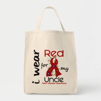 I Wear Red For My Uncle 43 Heart Disease Grocery Tote Bag