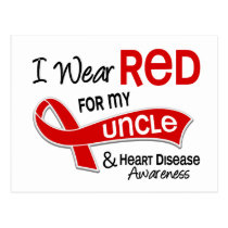 I Wear Red For My Uncle Heart Disease Postcard