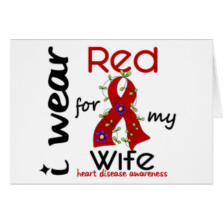 I Wear Red For My Wife 43 Heart Disease Greeting Card