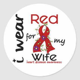 I Wear Red For My Wife 43 Heart Disease Classic Round Sticker
