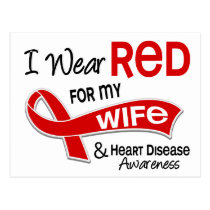 I Wear Red For My Wife Heart Disease Postcard