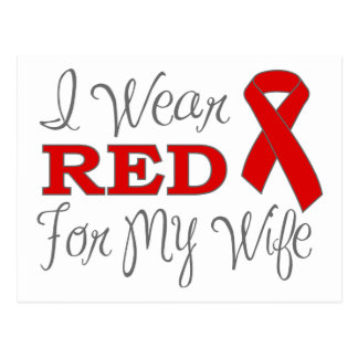 I Wear Red For My Wife (Red Ribbon) Postcard