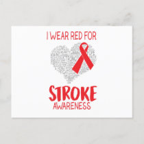 I Wear Red For Stroke Awareness Announcement Postcard