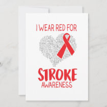 I Wear Red For Stroke Awareness Holiday Card